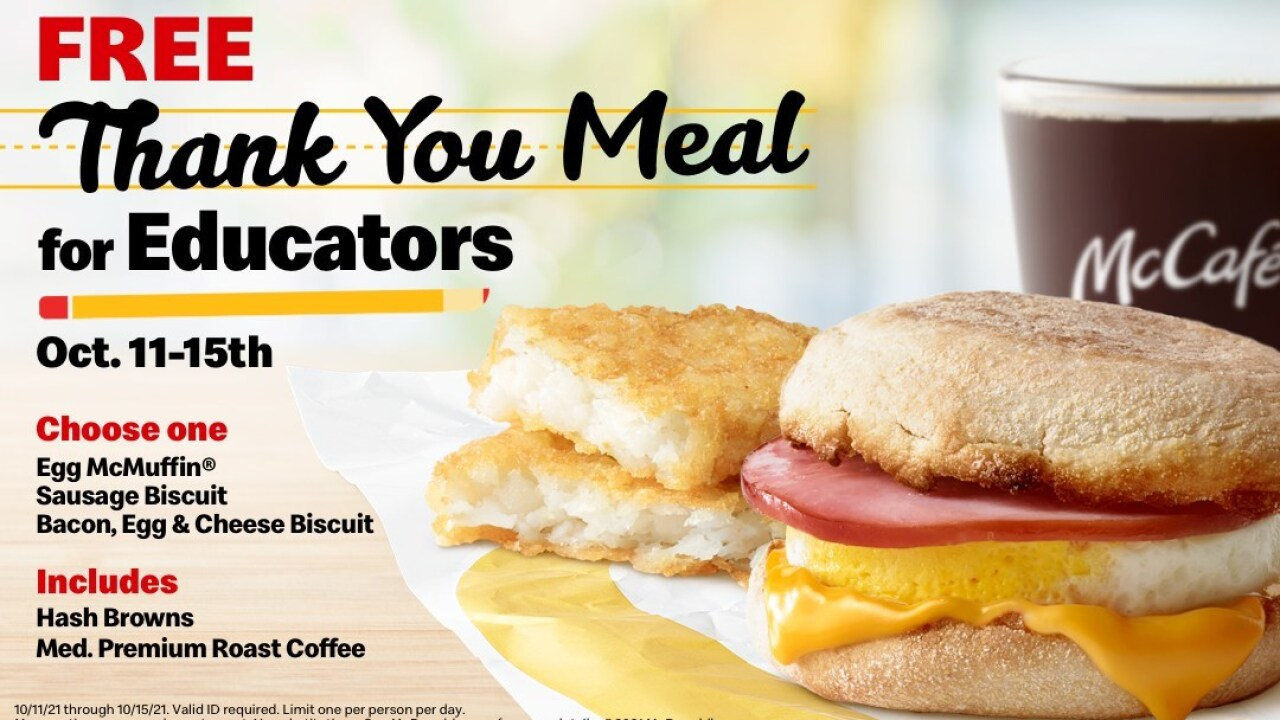 McDonalds USA Free Thank You Meal for Educators