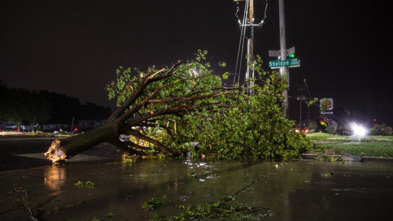 In this Tuesday, Sept. 10, 2019 photo, trees and debris lay on a sidewalk following severe weather in Sioux Falls, S.D. (Abigail Dollins/The Argus Leader via AP)