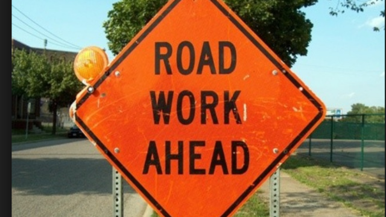 Roadwork slows traffic on Route 5 near Tifft St