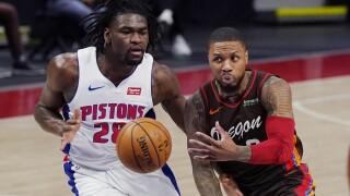 Isaiah Stewart, Damian Lillard Trail Blazers Pistons Basketball