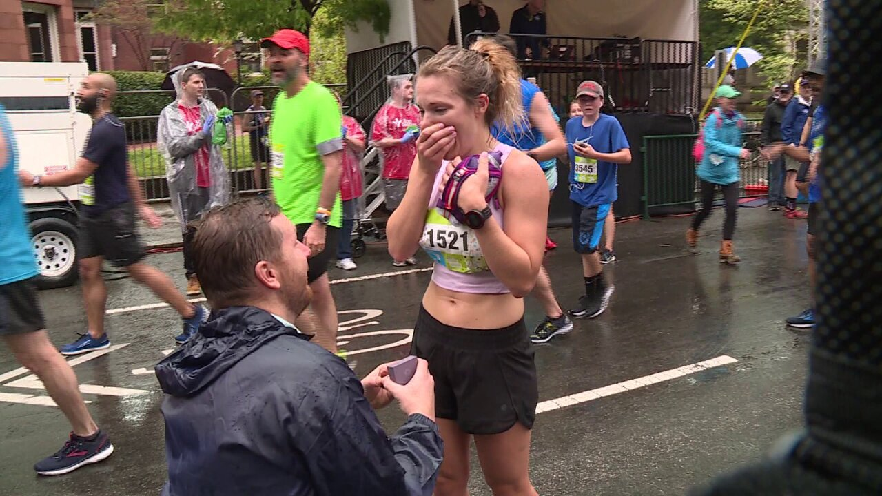 She crosses finish line and gets 'best surprise ever' at Ukrop's Monument Avenue10K