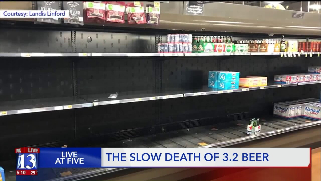 Empty store shelves across Utah as 3.2 beer disappears to make room for heavier brews