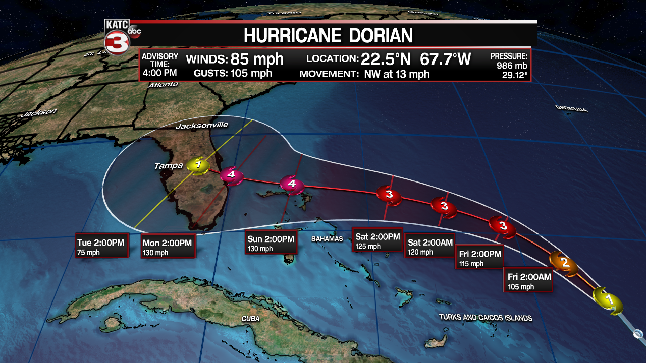 Acadiana's weather gets drier   Dorian a major threat to