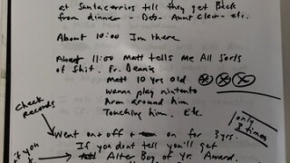 Handwritten notes on accusations against Buffalo diocesan priest removed from church