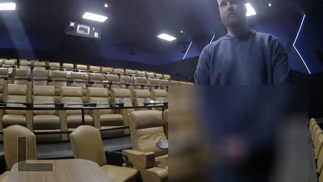 Body cam shows Officer Douglas Barrier at Studio Movie Grill