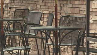 Outdoor seating at a restaurant in downtown Colorado Springs.