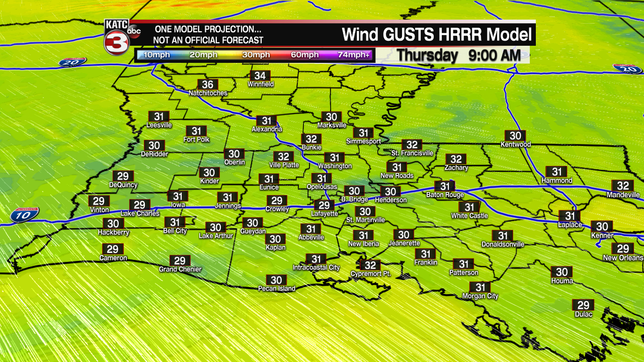 Acadiana Wind Gust Extended HRRR.png