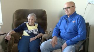 Helen Paulik, age 100, and her son Dennis Paulik.