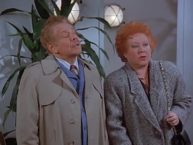 """Jerry Stiller as Frank Costanza and Estelle Harris as Estelle Costanza in """"The Shower Head"""" episode, which originally aired Feb. 15, 1996, on NBC."""
