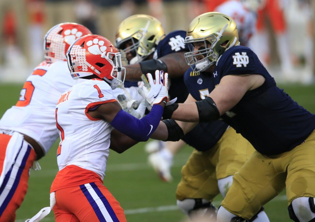 Notre Dame Fighting Irish offensive lineman Liam Eichenberg vs. Clemson Tigers cornerback Derion Kendrick in 2020 ACC Championship