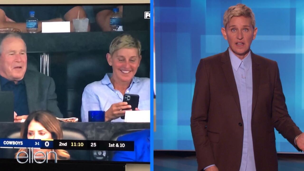 "Watch: Ellen reinforces ""be kind"" message after backlash of friendship with George W. Bush"
