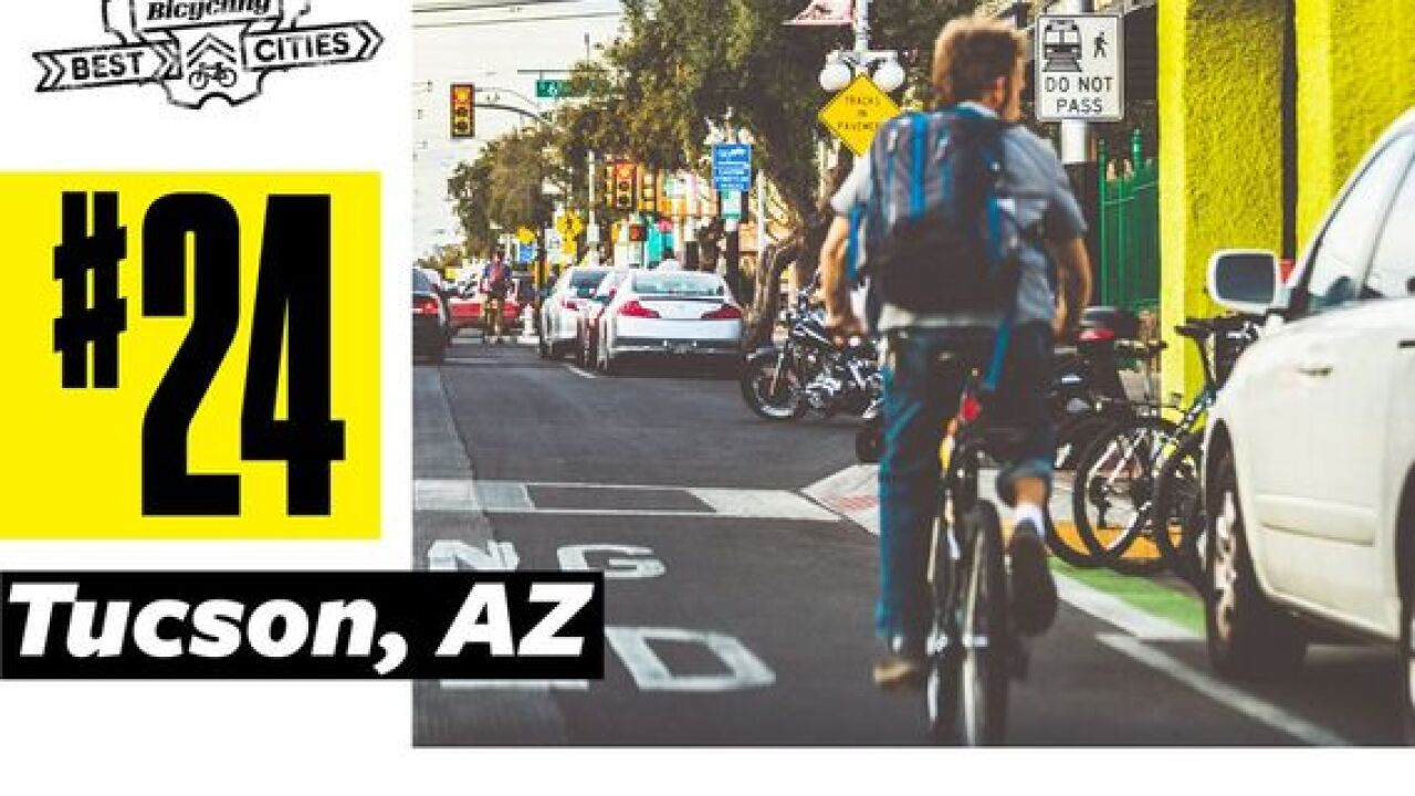 "Tucson is ranked 24th among the ""50 Best Bike Cities in America"""