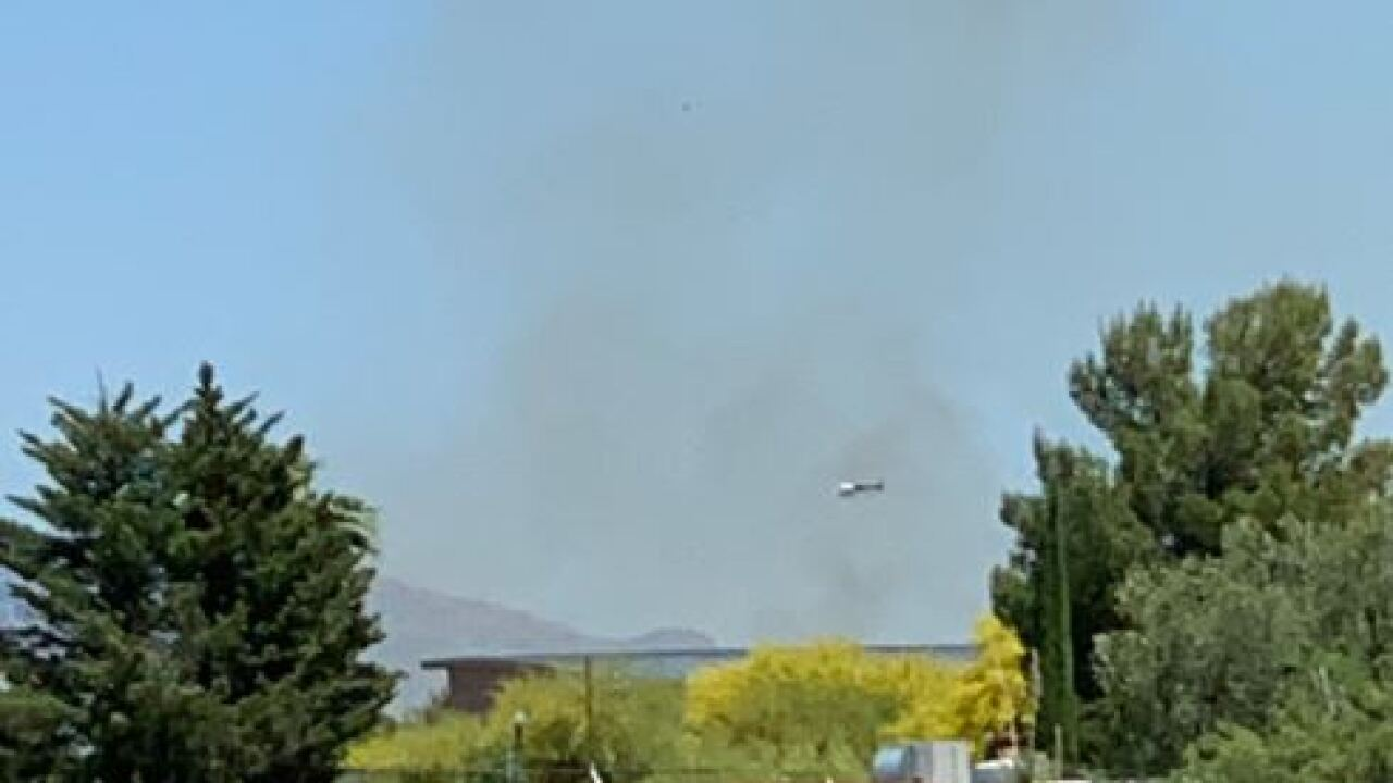 Multiple brushfires threatened structures near Sahaurita and Wentworth Roads Tuesday. Photo via Corona de Tucson Fire