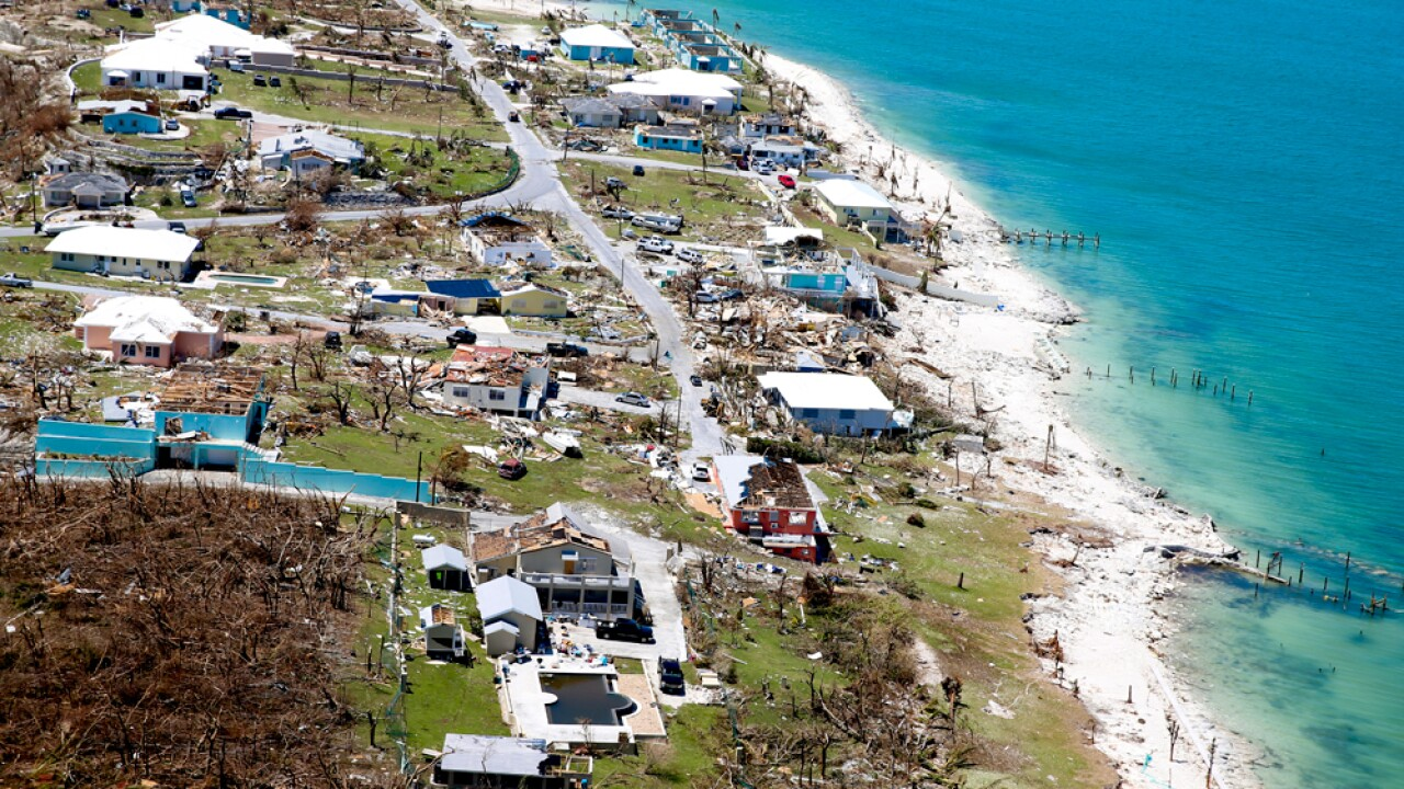 Aerial view of damage after Hurricane Dorian passed through on September 5, 2019 in Great Abaco Island, Bahamas. Hurricane Dorian hit the island chain as a category 5 storm battering them for two days before moving north.