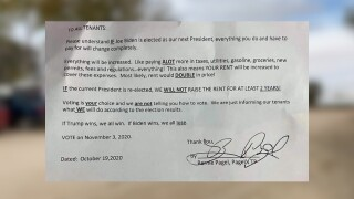 Colorado trailer park tenants say landlord is threatening to hike rent if Joe Biden wins