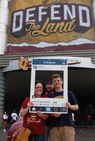 Cavs fans strike Instagram poses before 2017 NBA playoff games at The Q
