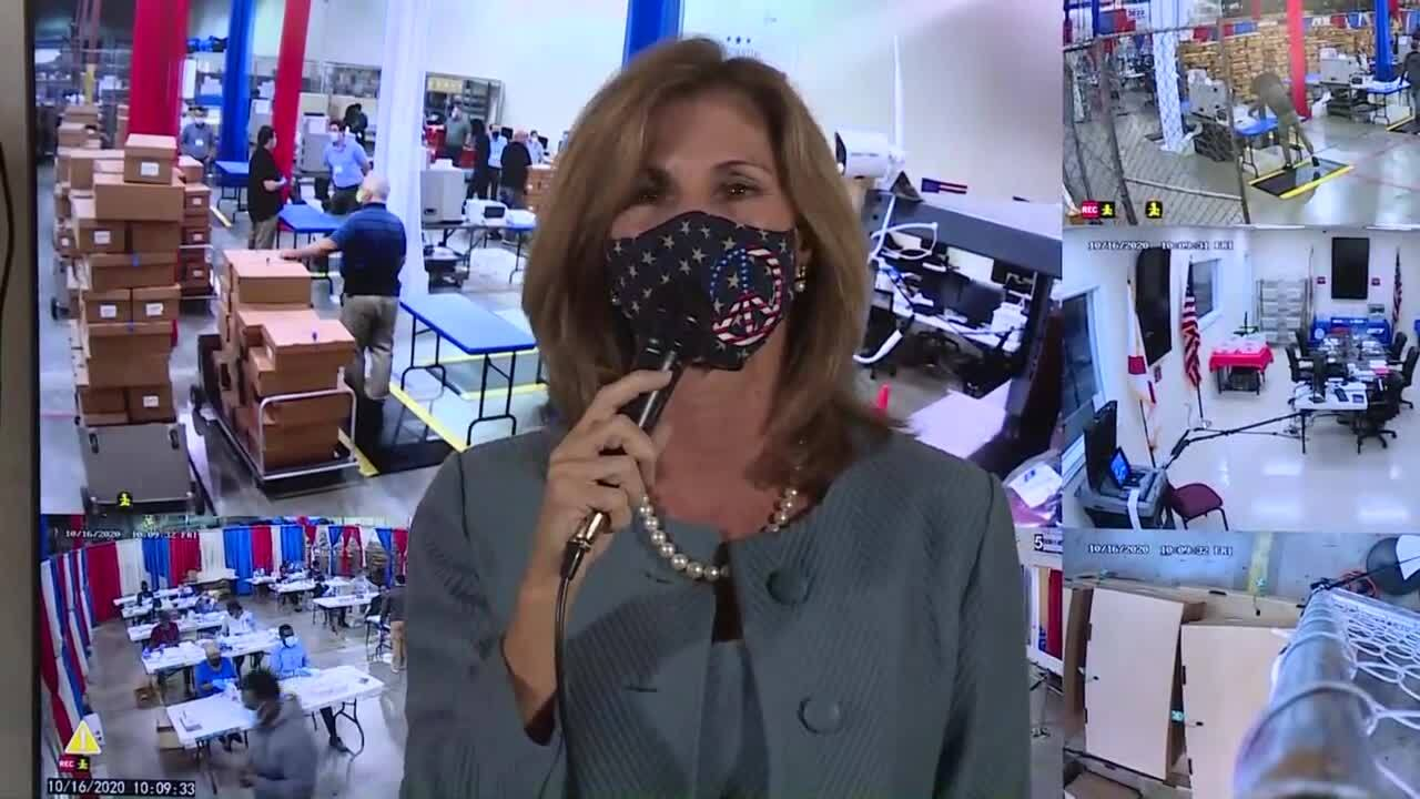Closeup of Palm Beach County Supervisor of Elections Wendy Sartory Link discussing early voting