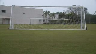 Soccer goal set up at Wellington park before Wellington Shootout