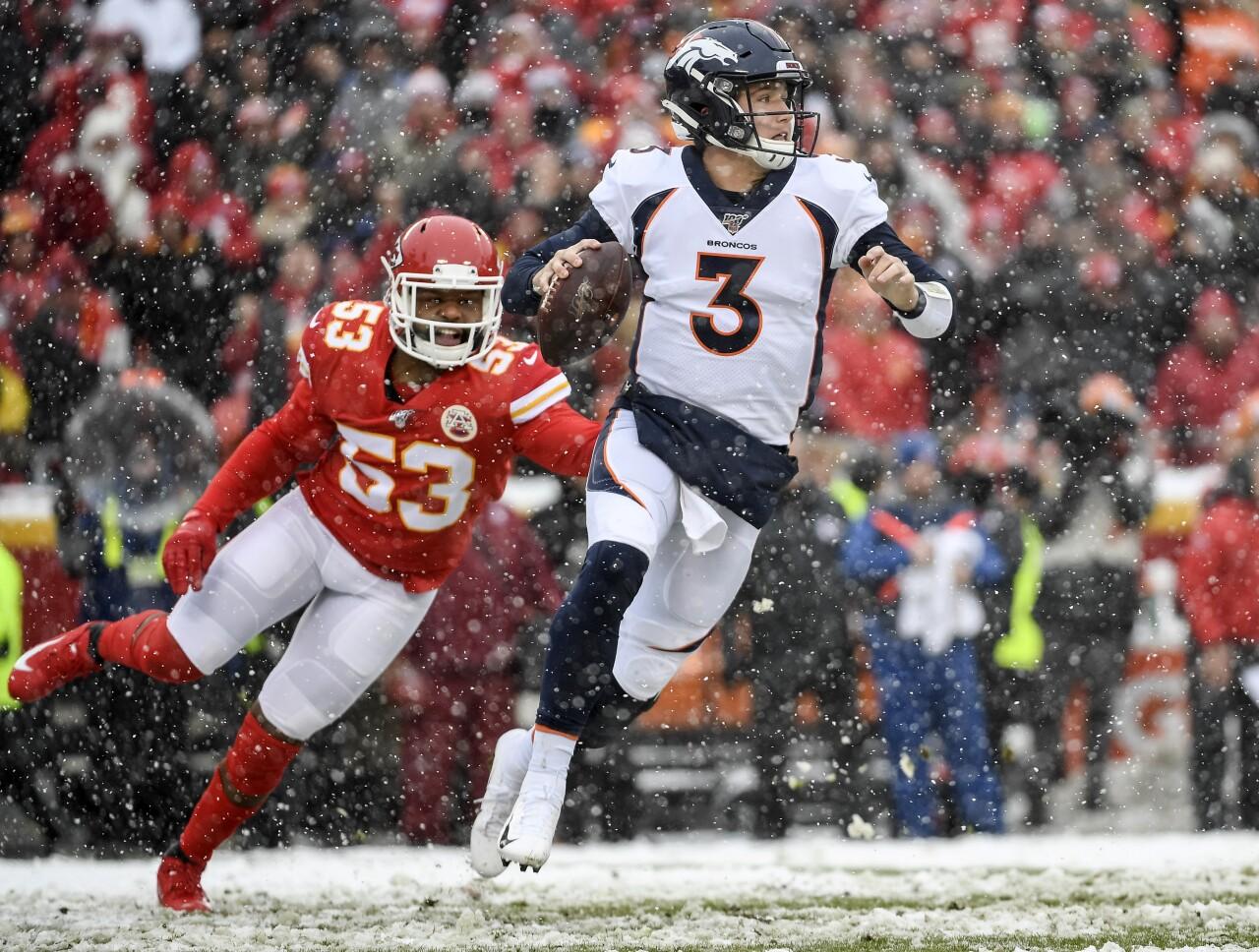 Denver Broncos QB Drew Lock vs Kansas City Chiefs in snow in 2019