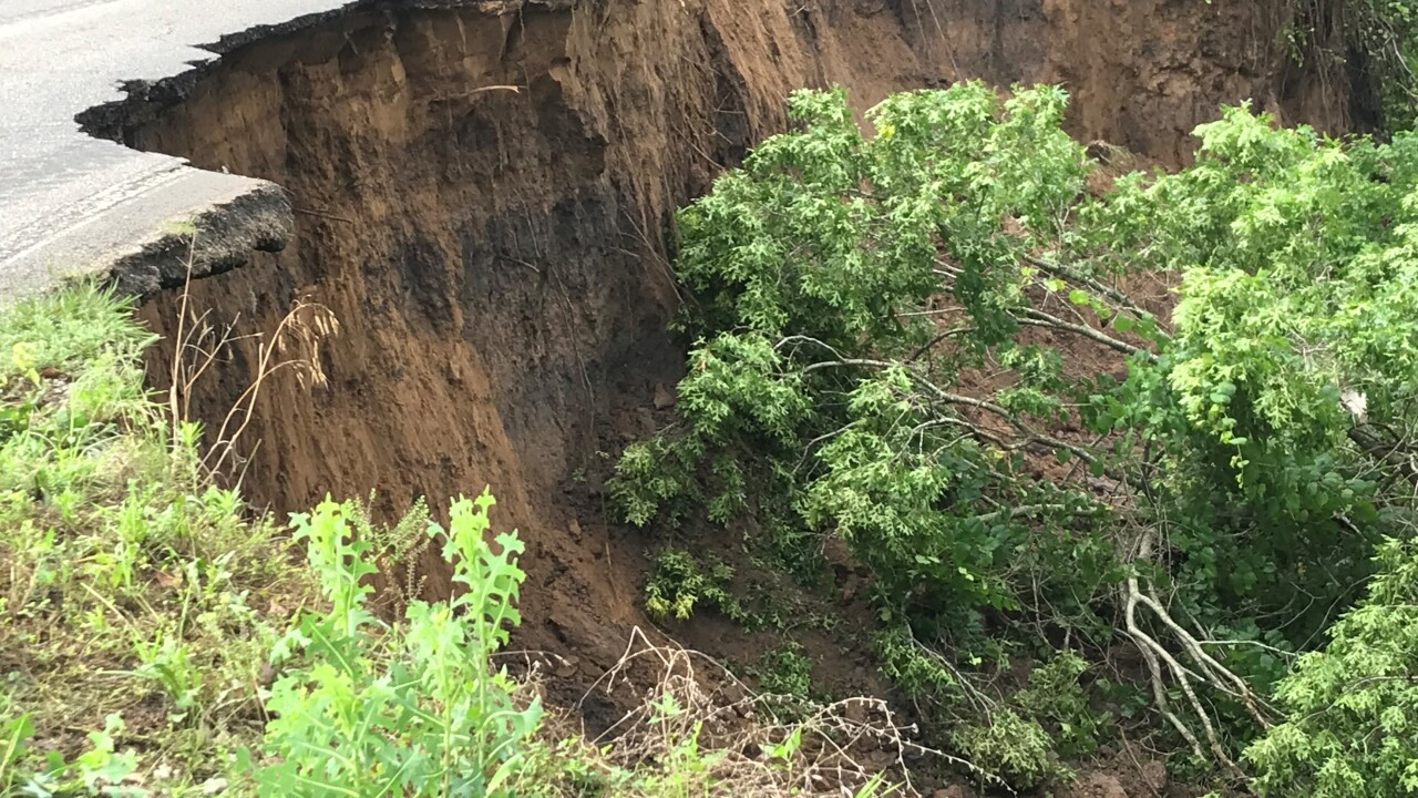 Washed out road in Skiatook