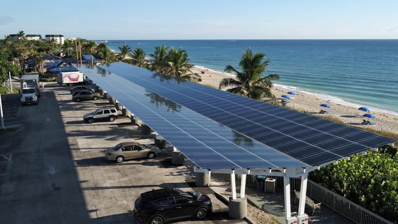Solar panels and Oceanfront Park in Boynton Beach