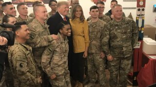 Photos: President Trump pays surprise visit to U.S. troops in Iraq