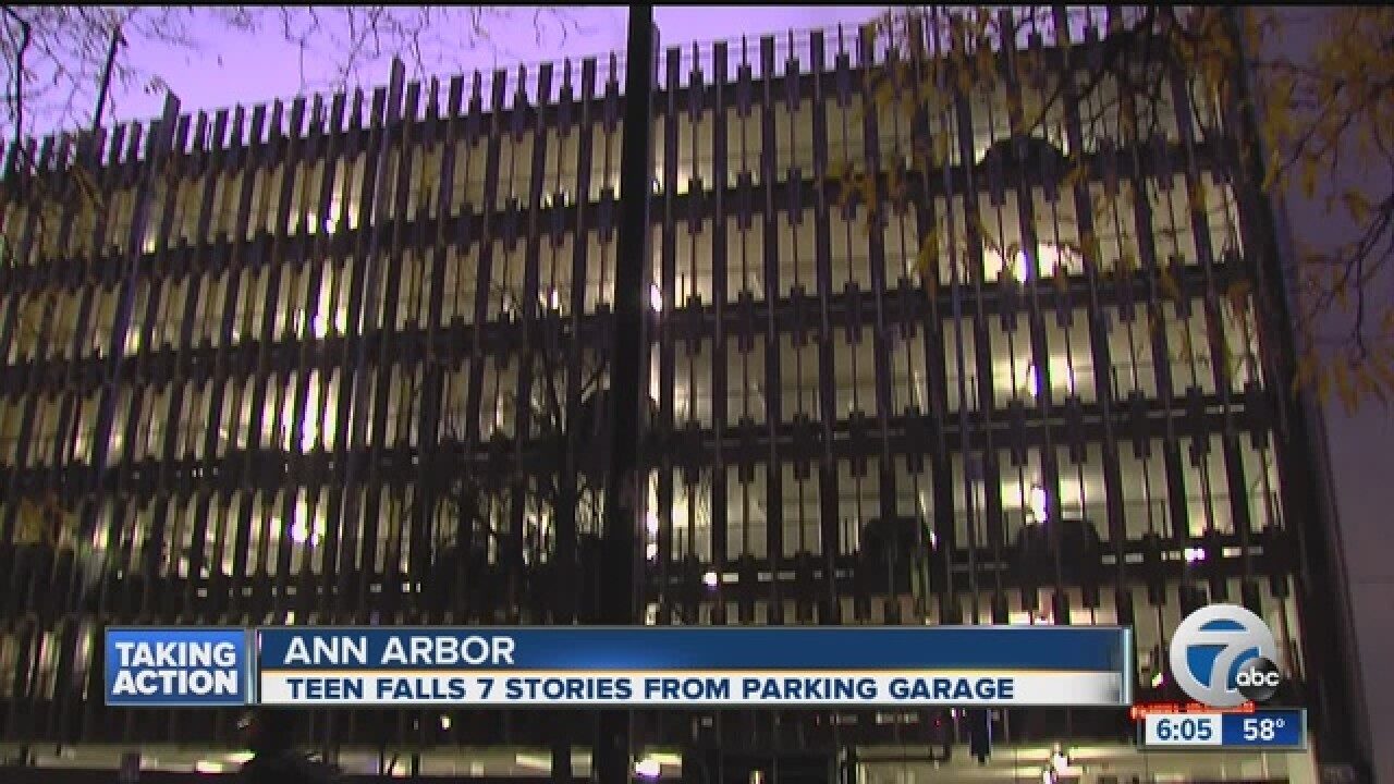 Teen dies after falling from top of parking structure on University of Michigan campus