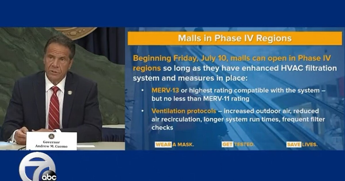 Cuomo: Malls can open in Phase Four regions Friday with enhanced HVAC filtration in place