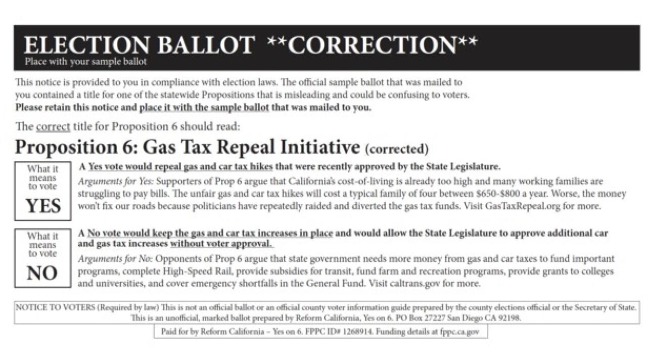 Anti-gas tax mailer 'corrects' ballot question