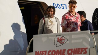 Kansas City Chiefs' Patrick Mahomes arrives for the NFL Super Bowl 54 football game Sunday, Jan. 26, 2020, at the Miami International Airport in Miami.