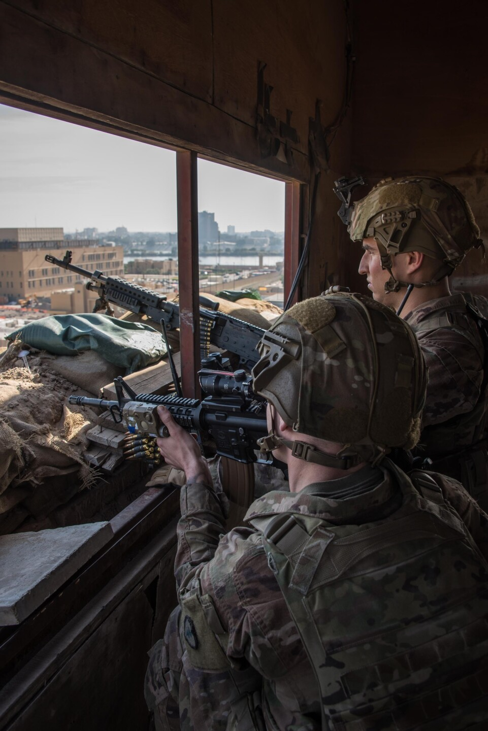 U.S. Army soldiers protect the U.S. Embassy Compound, Baghdad