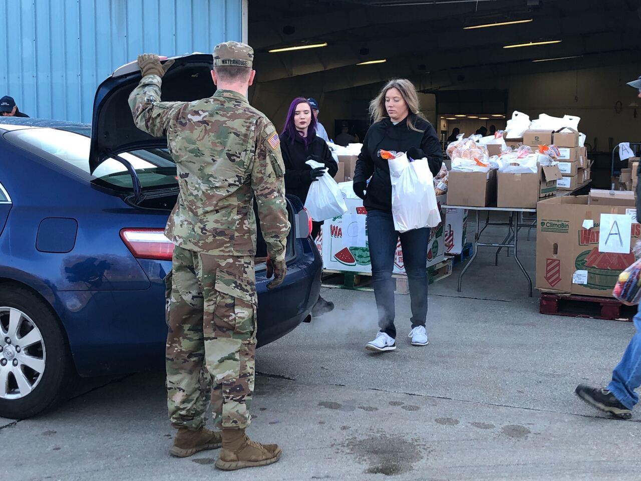 Medina County drive-thru food distribution.