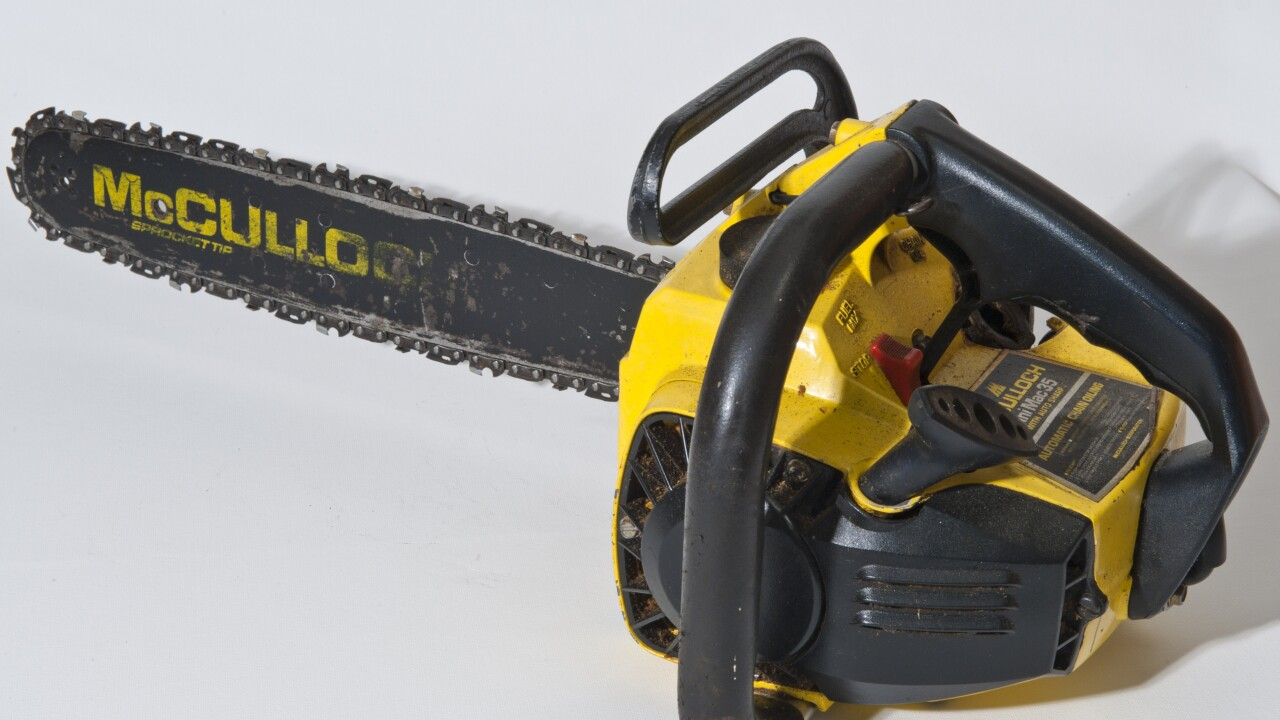 A chainsaw on a table