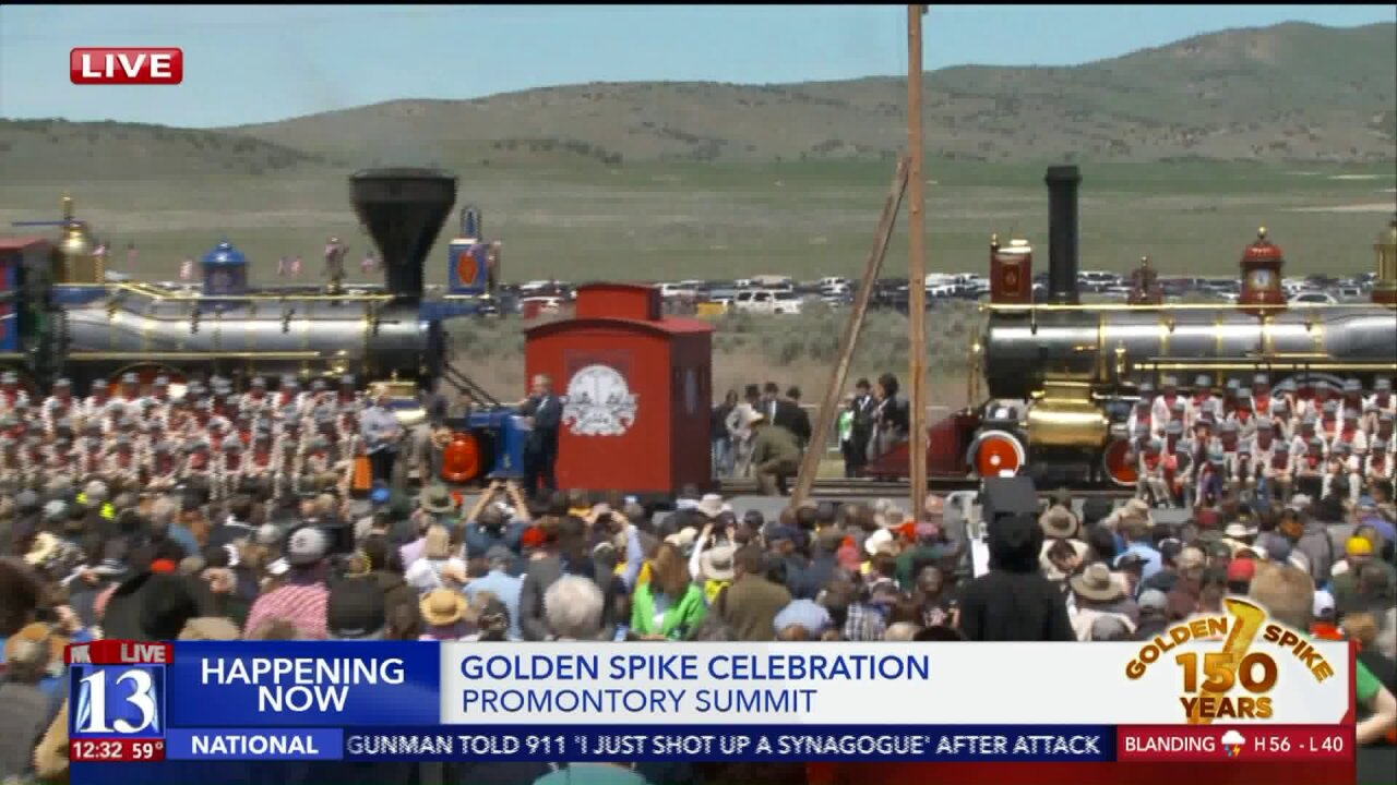 Utahns gather to celebrate 150 year anniversary of Golden Spike at PromontorySummit
