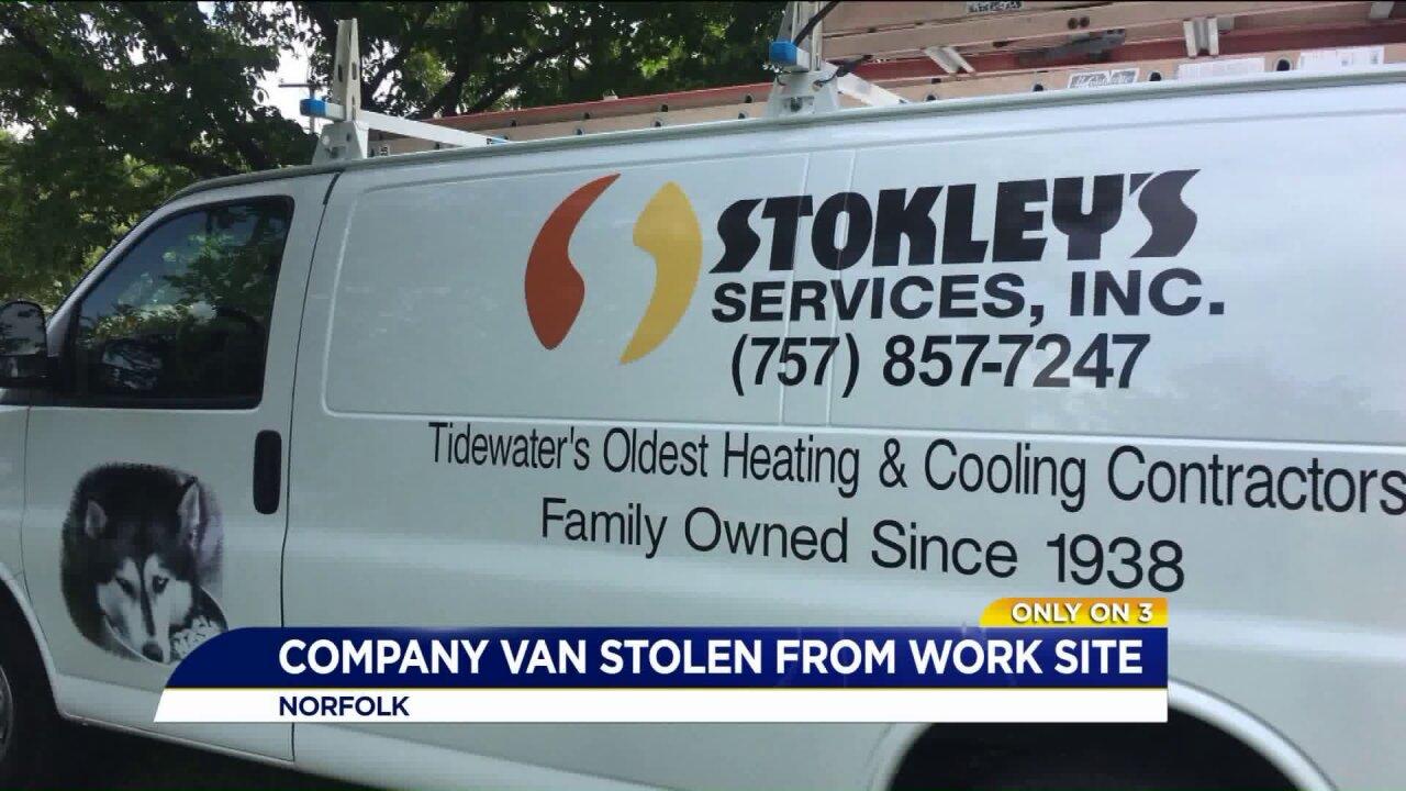 Chesapeake work van stolen from client'sdriveway