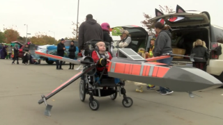 Nebraska boy gets custom-built Star Wars X-Wing fighter Halloween costume for his wheelchair