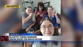 "Blackfeet ""sewing warriors"" making masks"