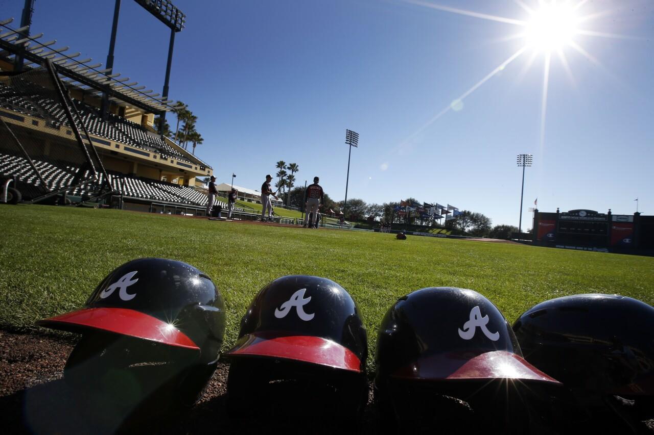 Atlanta Braves helmets during spring training in Kissimmee in 2014