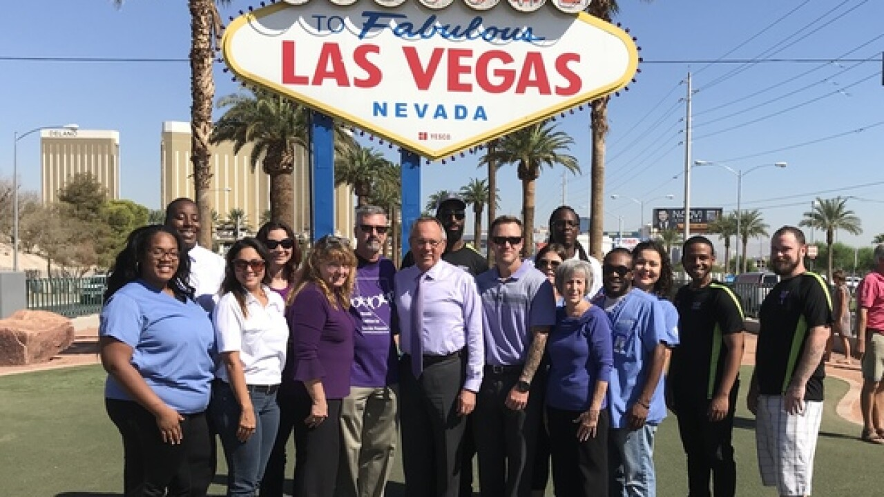 'Welcome to Fabulous Las Vegas' goes purple for suicide prevention