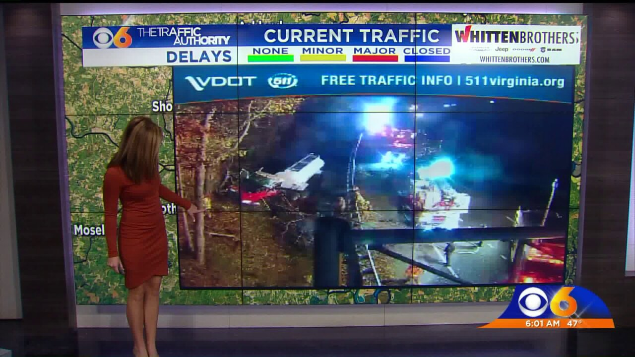 Trucker drives off I-64 and into thewoods