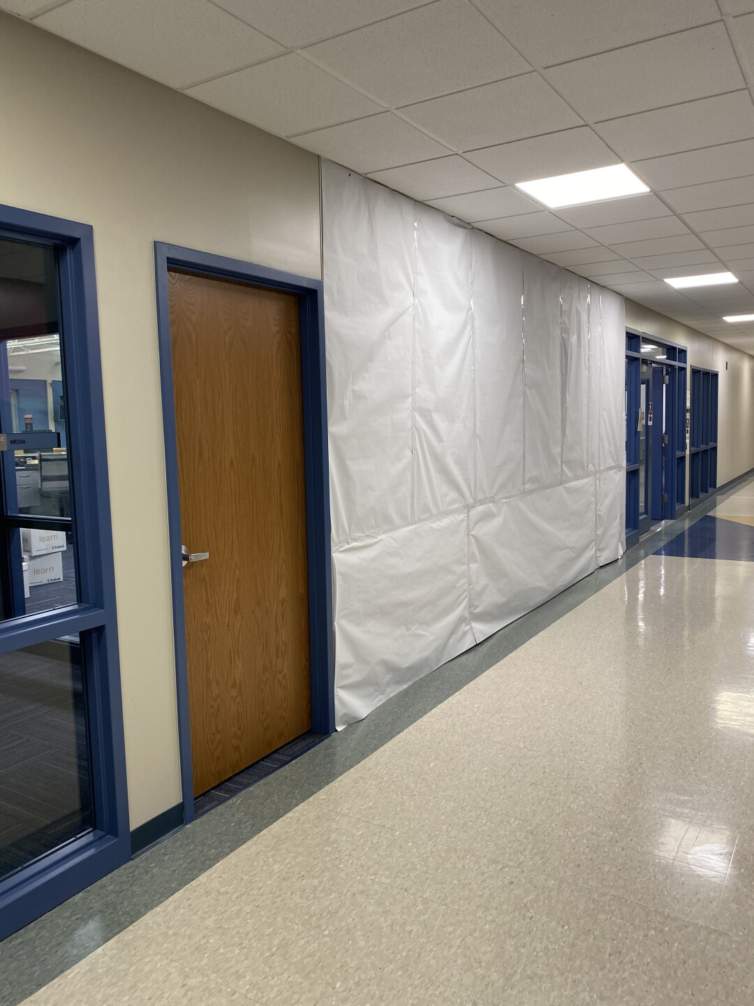 mural covered at Webster Middle School
