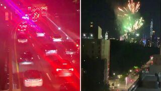 Fireworks protest outside Mayor Bill de Blasio's mansion on Upper East Side
