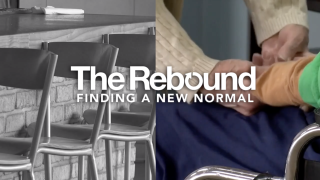 """The text, """"The Rebound: Finding a New Normal"""" lies overtop a split image. On the left is a black and white image of empty, high-top chairs sitting diagonally at a restaurant counter. The right depicts two sets of hands embracing, with one of the subjects sitting in a chair."""