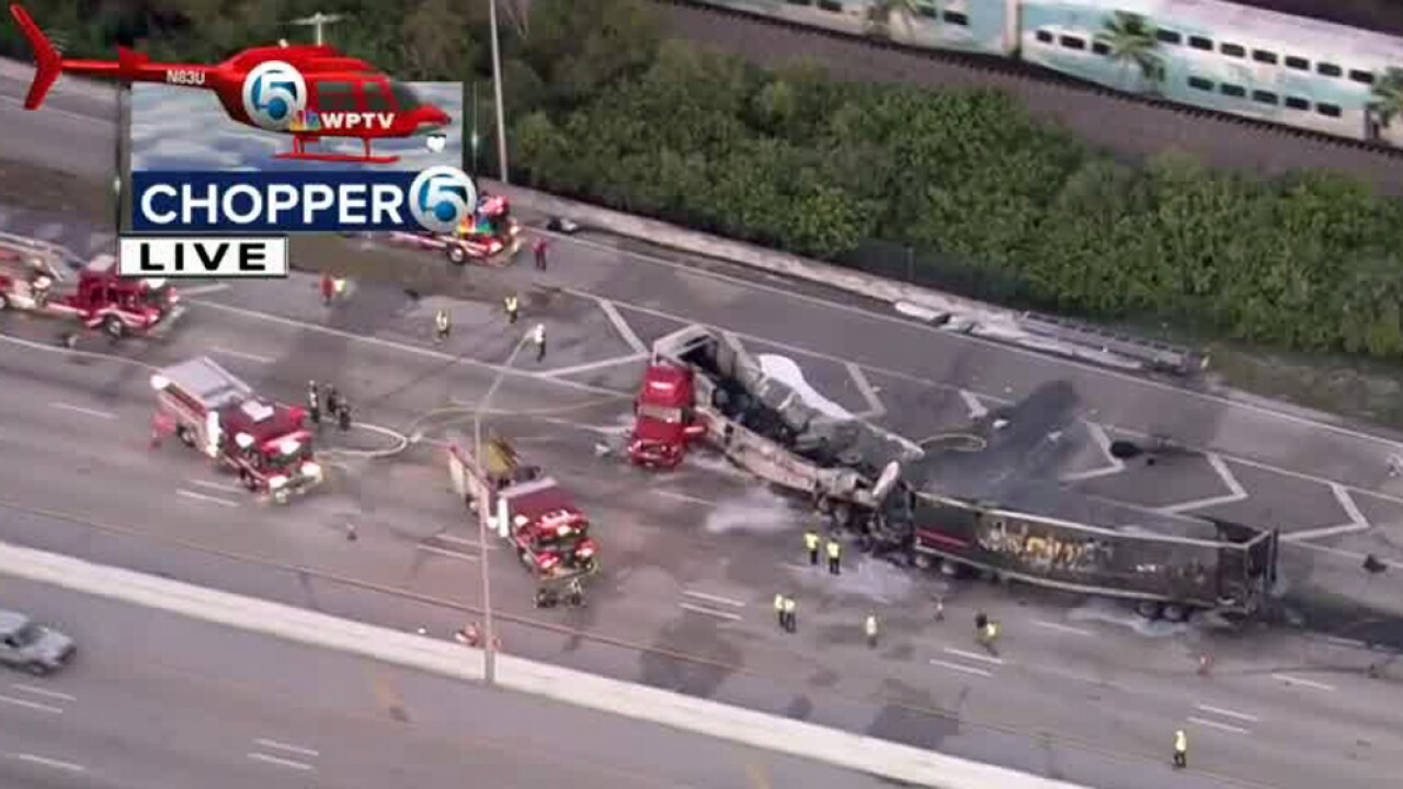 FHP identifies semi truck driver killed in fiery crash on I-95 in