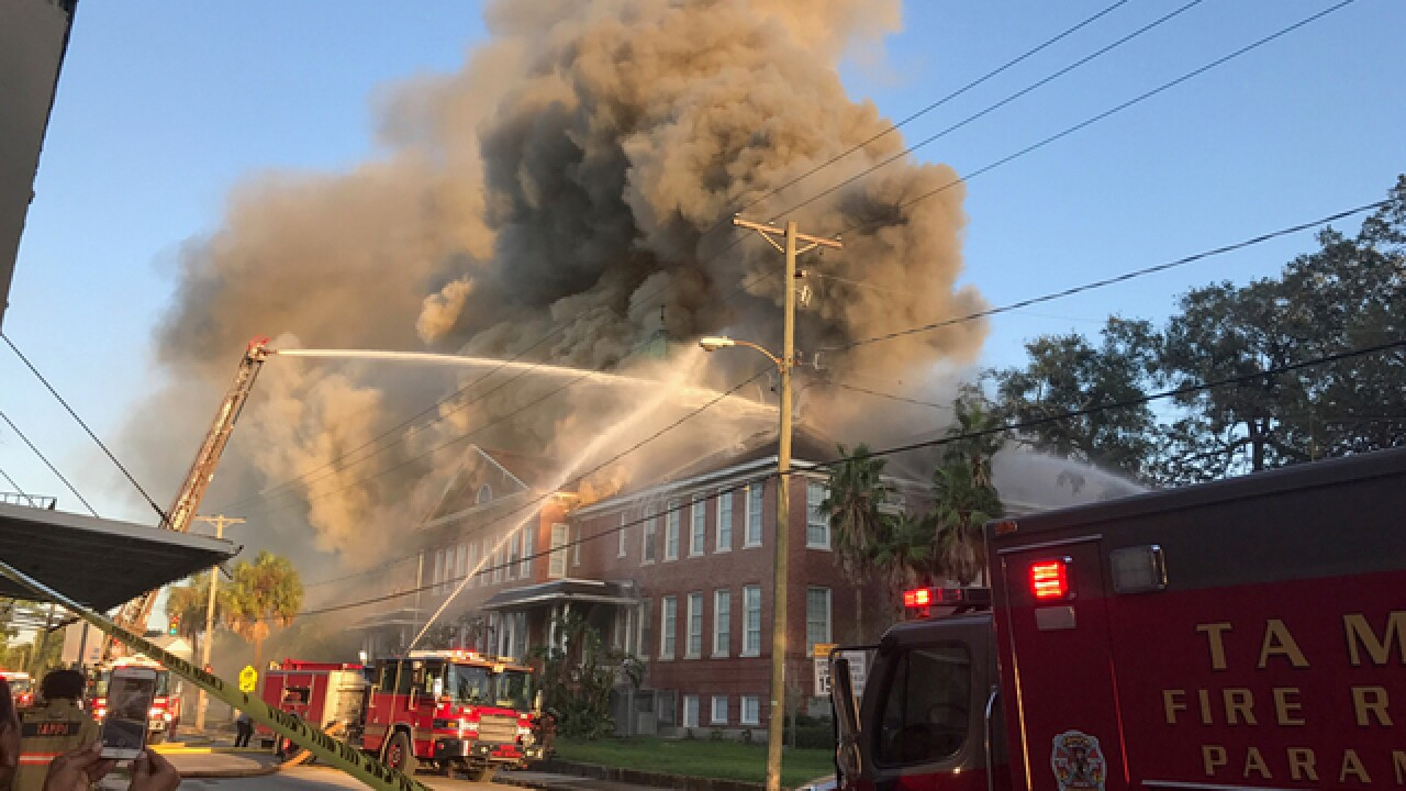 Smoke plumes from 3-alarm fire at Lee Elementary