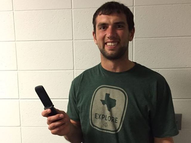Andrew Luck gets a new phone, but it's still a flip phone