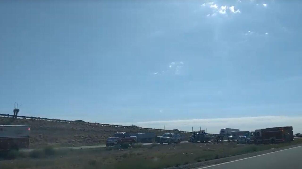 A wreck shut down westbound Interstate 10 Friday.