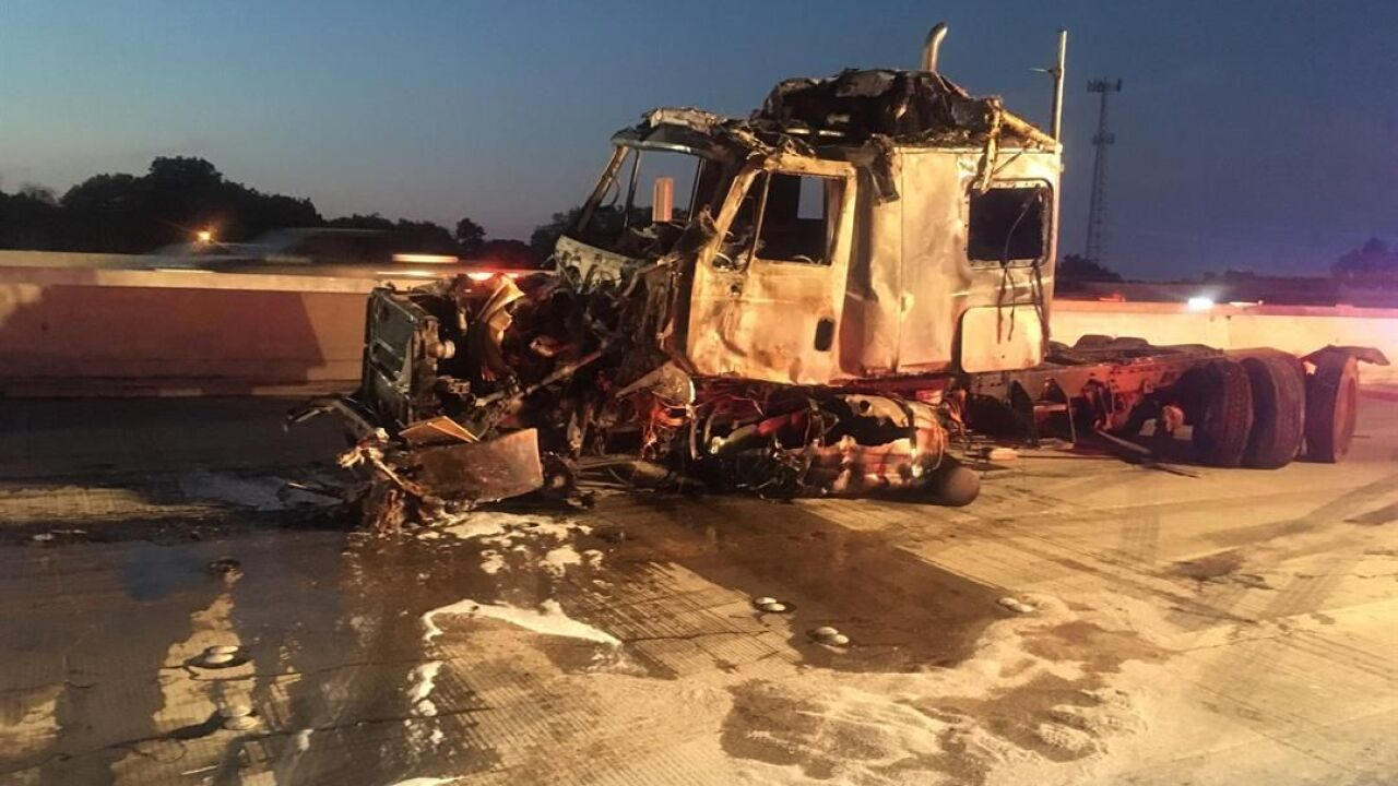 Fiery 18-wheeler crash closes I-35 lanes in Temple