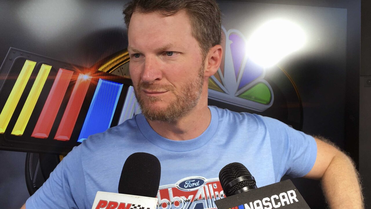 Dale Earnhardt Jr. gets a break from the broadcast booth after surviving a plane crash