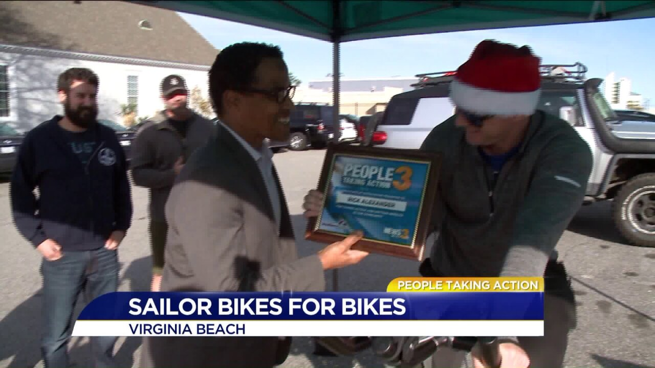 People Taking Action: Navy Sailor vows to stay on bike to help 100 needychildren!